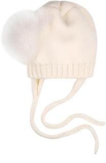 Шерстяная шапка с декором из меха лисы Catya