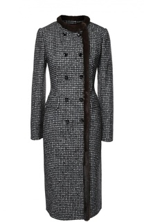 Двубортное приталенное пальто с меховой отделкой Dolce & Gabbana