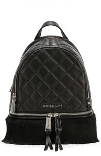 Кожаный рюкзак Rhea Zip с отделкой из меха кролика Michael Michael Kors