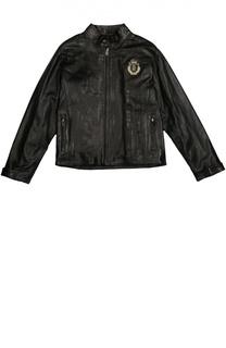 Кожаная куртка на молнии с воротником-стойкой Billionaire