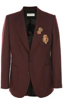 Шерстяной однобортный пиджак с нашивками Dries Van Noten