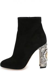 Замшевые ботильоны Vally на декорированном каблуке Dolce & Gabbana