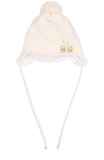 Шерстяная шапка с помпоном и аппликацией Il Trenino