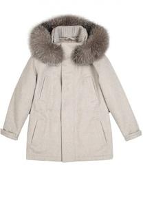 Кашемировая куртка с меховой отделкой капюшона Loro Piana