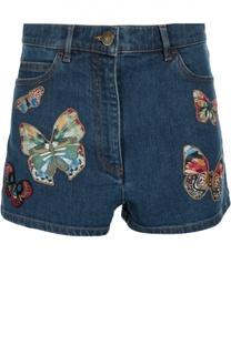 Джинсовые мини-шорты с завышенной талией и вышивкой Valentino
