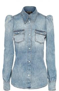 Приталенная джинсовая блуза с рукавом-фонарик Roberto Cavalli