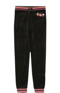 Спортивные велюровые брюки с контрастной отделкой Juicy Couture