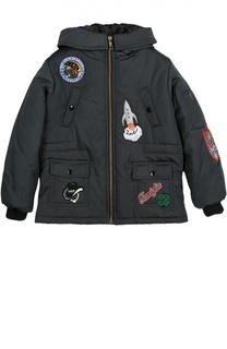 Куртка на молнии с капюшоном и нашивками Dolce & Gabbana
