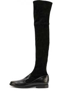 Кожаные ботфорты с голенищем из замши Giorgio Armani