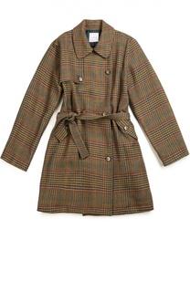 Двубортное пальто в клетку с отложным воротником и поясом Stella Jean