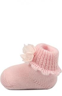 Пинетки из шерсти с цветочной аппликацией Il Trenino