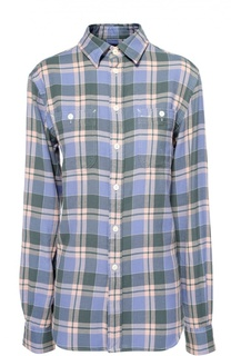 Хлопковая блуза в клетку с накладными карманами Polo Ralph Lauren