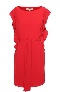 Мини-платье с поясом и оборками Michael Michael Kors