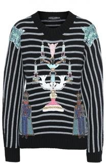Кашемировый пуловер свободного кроя с разноцветной вышивкой Dolce & Gabbana