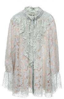 Кружевная блуза свободного кроя с рюшами Lanvin