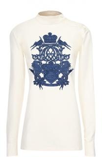 Хлопковая блуза с контрастной вышивкой и воротником-стойкой Dries Van Noten