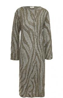 Вязаное платье прямого кроя с декоративной отделкой Dries Van Noten
