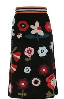 Вязаная юбка-миди с разноцветной вышивкой REDVALENTINO