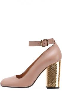 Туфли на каблуке с отделкой из кожи питона Marni