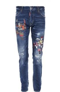 Зауженные джинсы с принтом Dsquared2