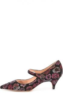 Туфли из текстиля с вышивкой Rochas