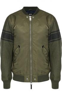 Куртка-бомбер на молнии с рукавами из шерсти Diesel