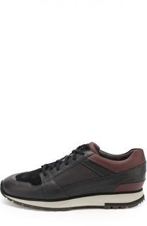 Кожаные кроссовки с текстильной отделкой Santoni