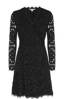 Кружевное мини-платье с запахом и длинным рукавом Diane Von Furstenberg