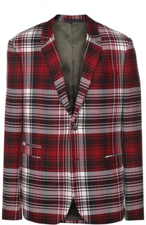 Шерстяной однобортный пиджак в клетку Valentino