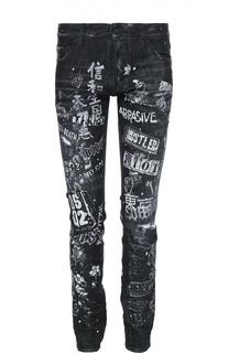 Зауженные джинсы с принтом и нашивками Dsquared2