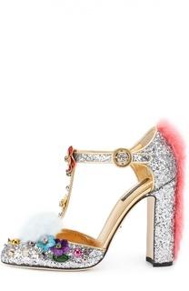 Туфли Vally с глиттером и декором Dolce & Gabbana