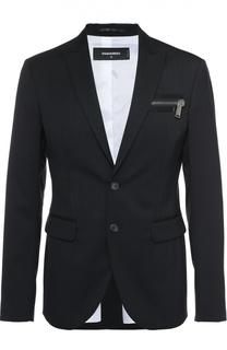 Шерстяной однобортный пиджак с декоративным карманом на молнии Dsquared2