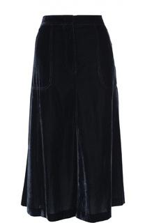 Бархатная юбка-миди с накладными карманами Escada Sport