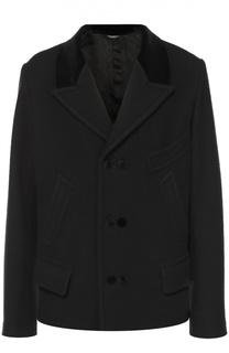 Шерстяное укороченное пальто с остроконечными лацканами Dolce & Gabbana