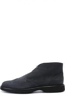 Замшевые ботинки с брогированием Hogan