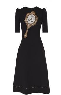 Приталенное платье с рукавом-фонарик и декоративной отделкой Dolce & Gabbana