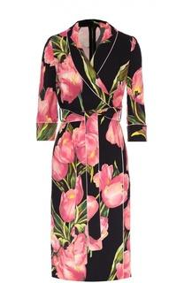 Платье с запахом и цветочным принтом Dolce & Gabbana