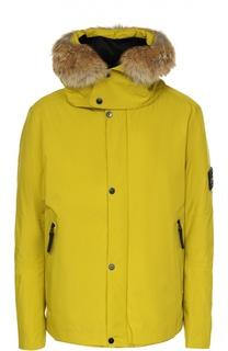 Утепленная куртка с меховой отделкой капюшона Stone Island