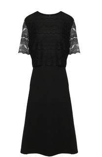 Приталенное платье с кружевной отделкой и коротким рукавом Escada