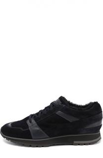 Замшевые кроссовки с внутренней меховой отделкой Santoni
