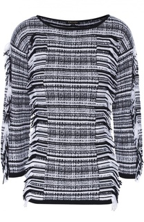 Пуловер с укороченным рукавом и бахромой Escada