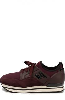 Комбинированные кроссовки с глиттером на заднике Hogan