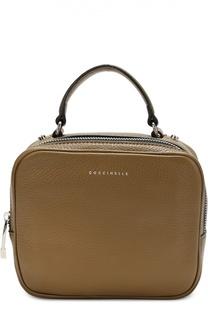 Кожаная сумка с логотипом бренда Coccinelle