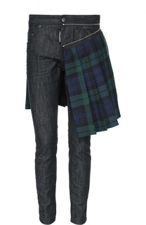 Зауженные джинсы с декоративным килтом Dsquared2
