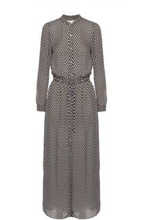 Шелковое платье-рубашка с поясом и воротником-стойкой Michael Michael Kors