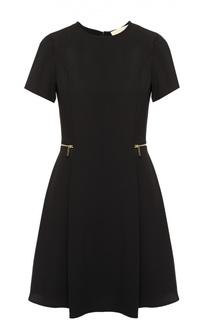 Приталенное платье с коротким рукавом и декоративными молниями Michael Michael Kors