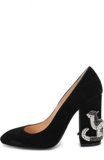 Замшевые туфли на декорированном каблуке No. 21