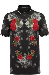Хлопковое поло с принтом в виде вышивки Dolce & Gabbana