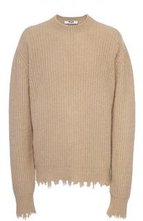 Шерстяной свитер с необработанным краем MSGM