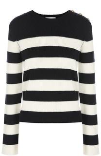 Шерстяной пуловер в контрастную полоску с декоративной отделкой REDVALENTINO